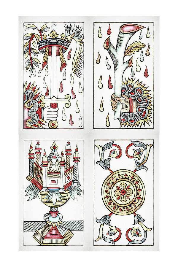 Tarot de Marseille Aces by Pennie McCracken
