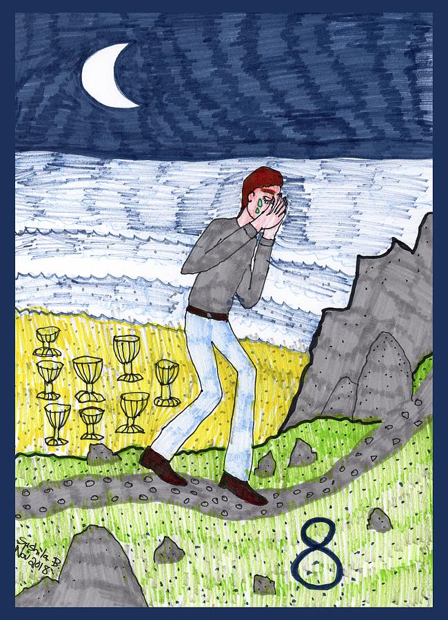 Tarot Drawing - Tarot of the Younger Self Eight of Cups by Sushila Burgess