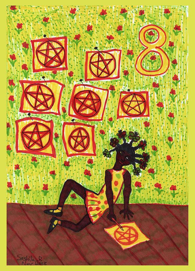 Tarot Drawing - Tarot Of The Younger Self Eight Of Pentacles by Sushila Burgess