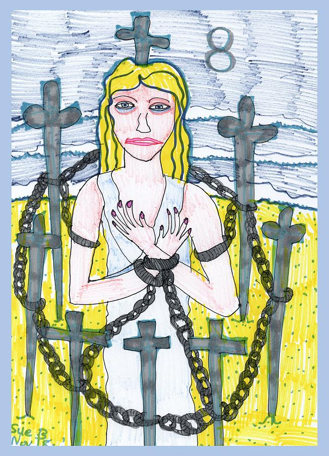 Tarot Drawing - Tarot Of The Younger Self Eight Of Swords by Sushila Burgess