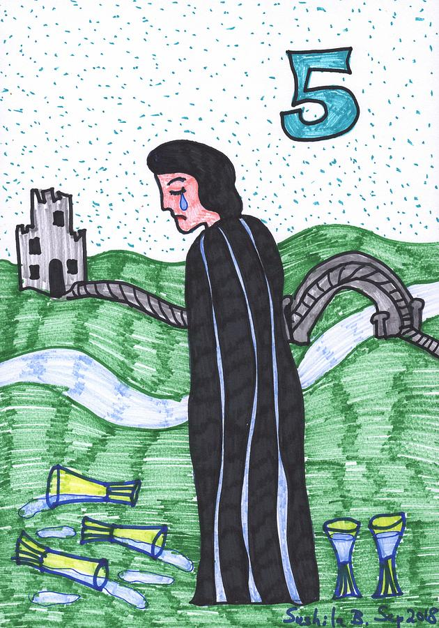Tarot Drawing - Tarot of the Younger Self Five of Cups by Sushila Burgess