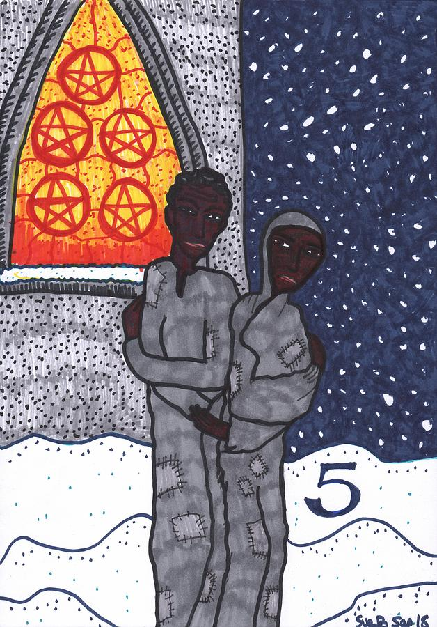 Tarot Drawing - Tarot of the Younger Self Five of Pentacles by Sushila Burgess