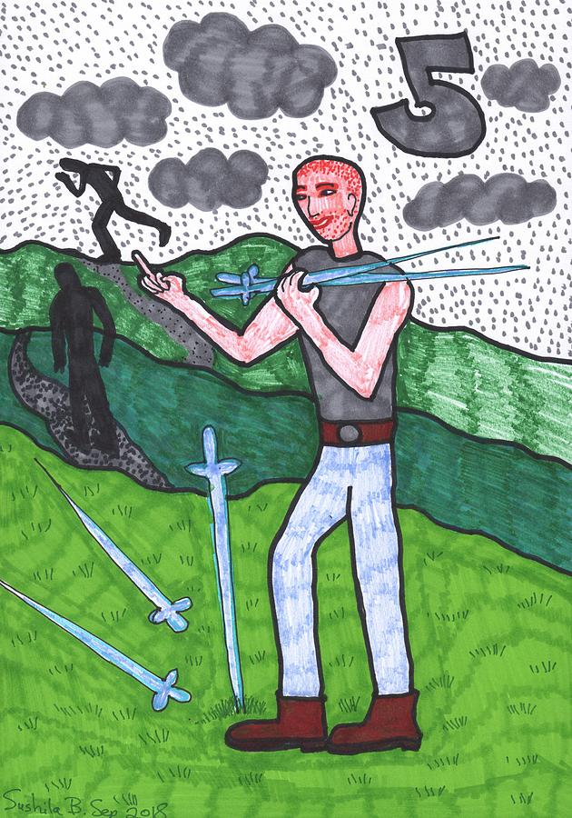 Tarot Drawing - Tarot of the Younger Self Five of Swords by Sushila Burgess