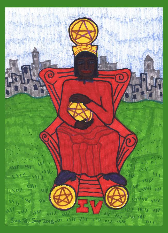Tarot Drawing - Tarot Of The Younger Self Four Of Pentacles by Sushila Burgess