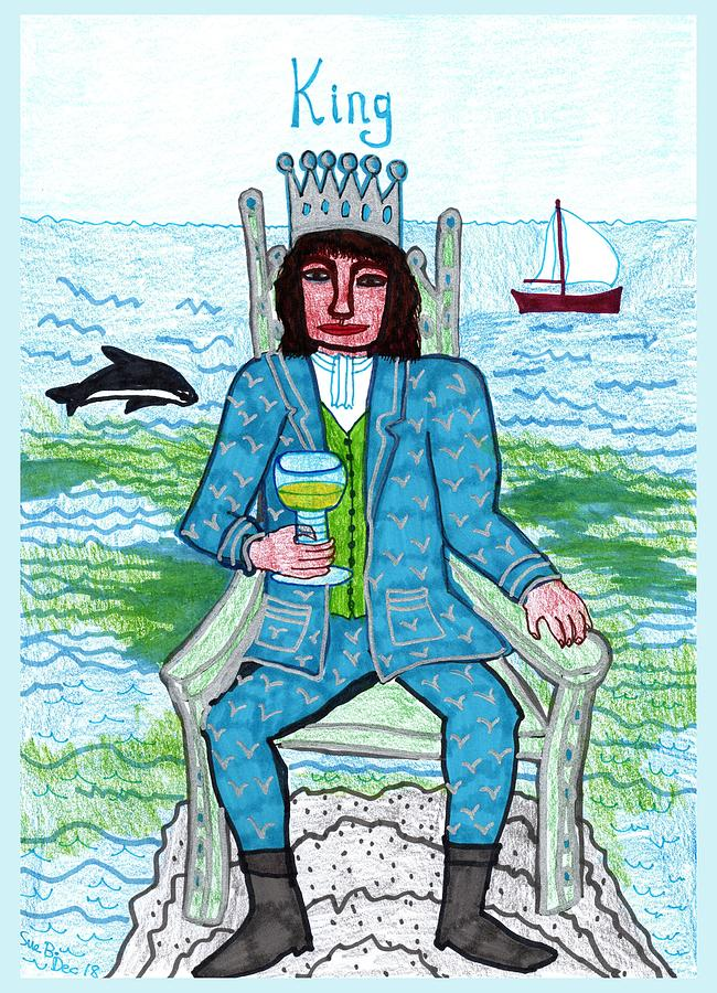 Tarot Drawing - Tarot of the Younger Self King of Cups by Sushila Burgess