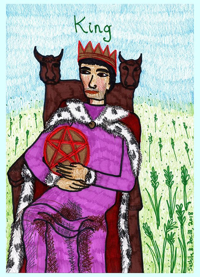 Tarot Drawing - Tarot of the Younger Self King of Pentacles by Sushila Burgess
