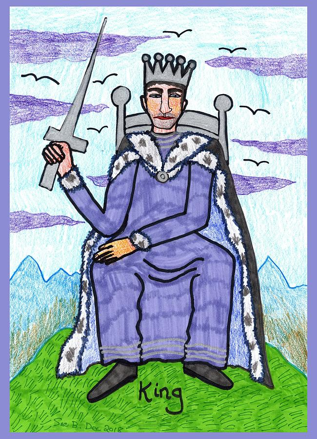 Tarot Drawing - Tarot Of The Younger Self King Of Swords by Sushila Burgess