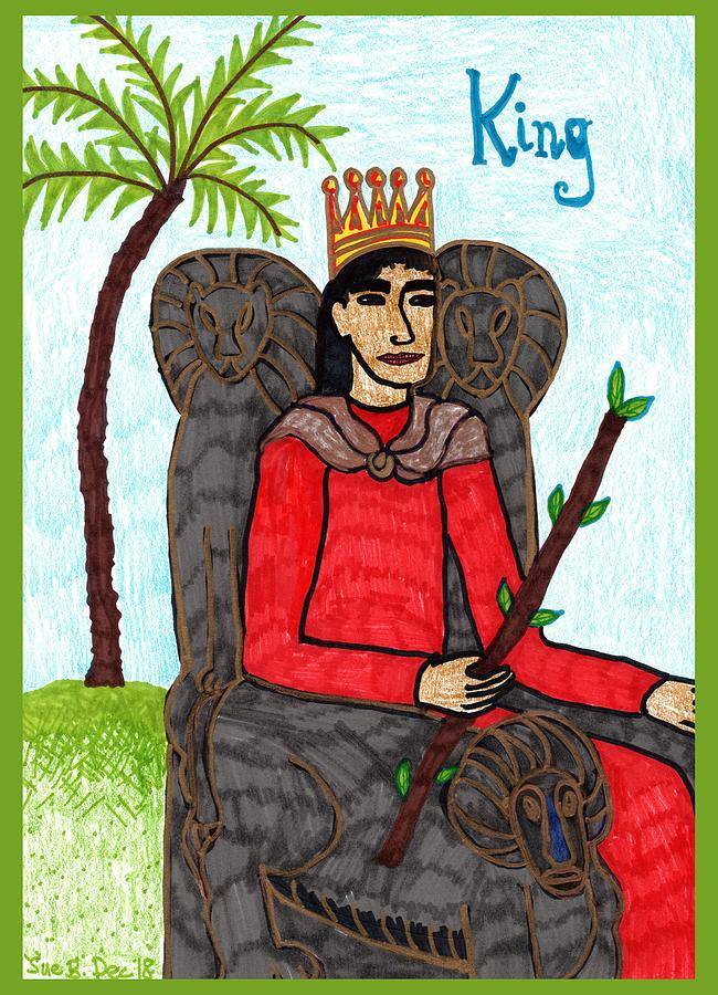 Tarot Drawing - Tarot of the Younger Self King of Wands by Sushila Burgess