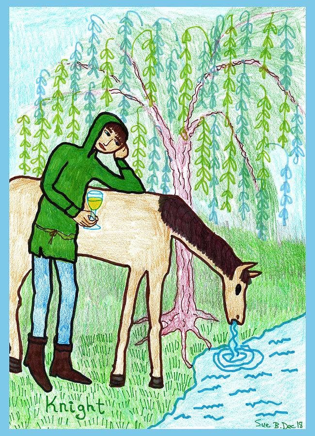 Tarot Drawing - Tarot Of The Younger Self Knight Of Cups by Sushila Burgess