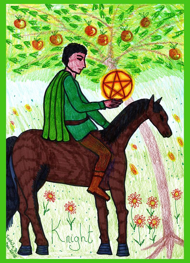 Tarot Drawing - Tarot Of The Younger Self Knight Of Pentacles by Sushila Burgess