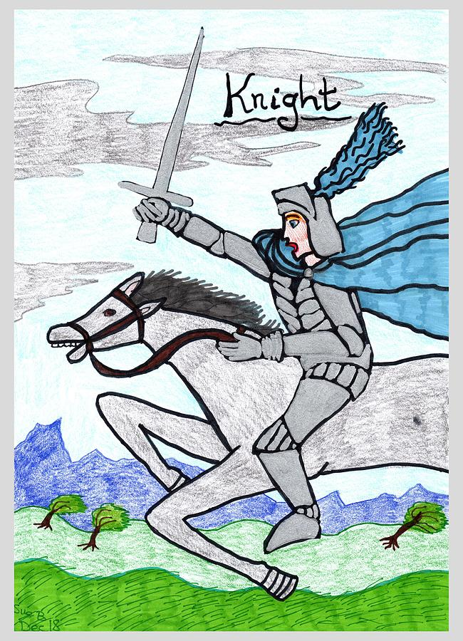 Tarot Drawing - Tarot of the Younger Self Knight of Swords by Sushila Burgess