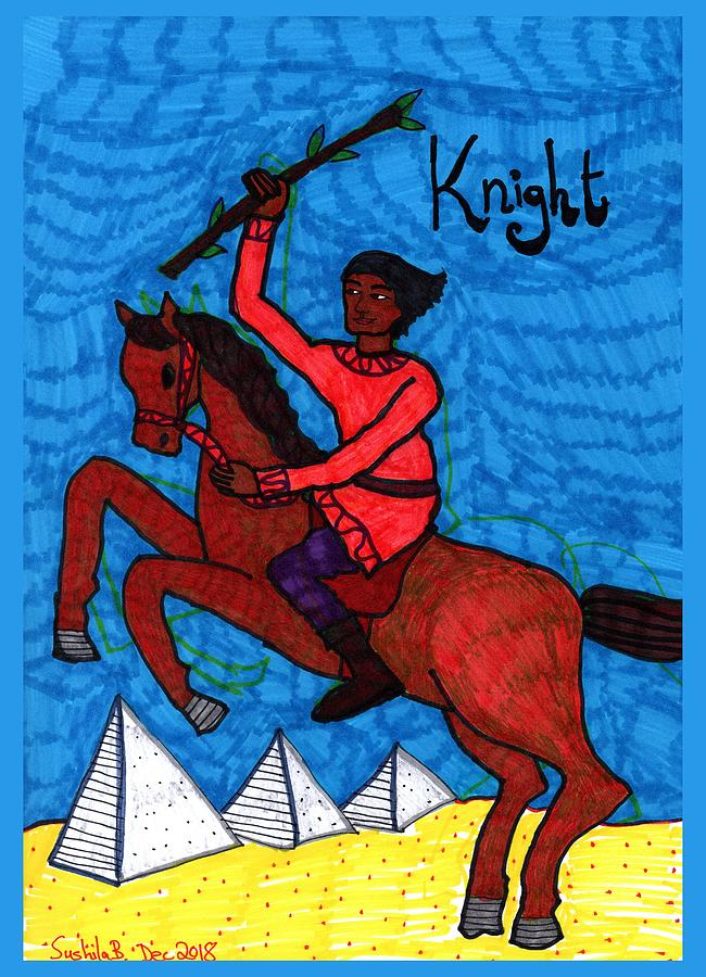 Tarot Drawing - Tarot of the Younger Self Knight of Wands by Sushila Burgess