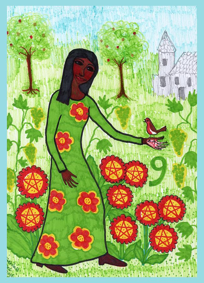Tarot Drawing - Tarot Of The Younger Self Nine Of Pentacles by Sushila Burgess