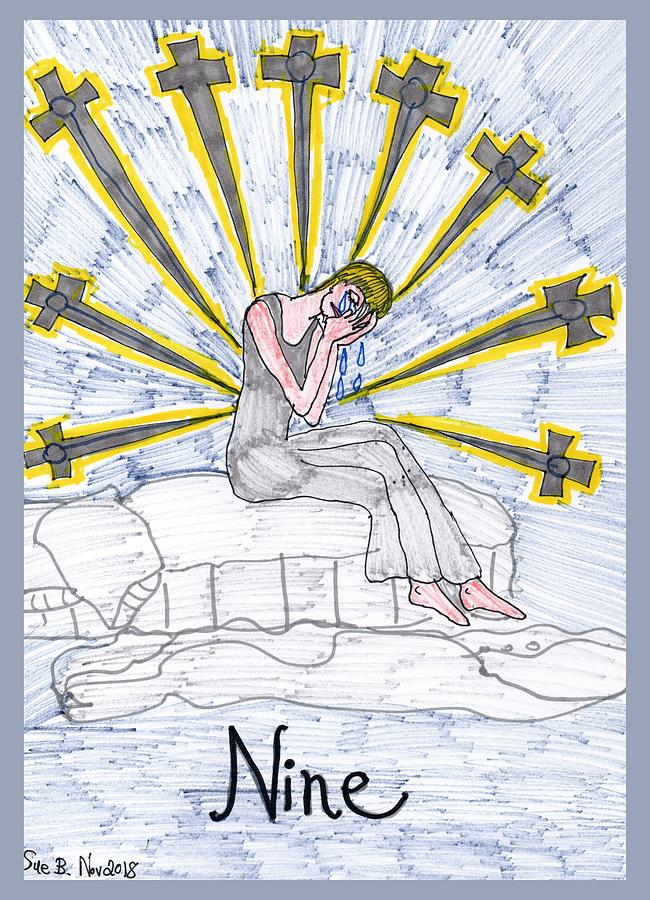 Tarot Drawing - Tarot of the Younger Self Nine of Swords by Sushila Burgess