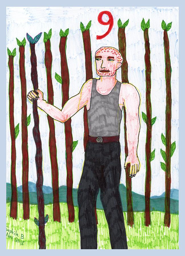 Tarot Drawing - Tarot of the Younger Self Nine of Wands by Sushila Burgess