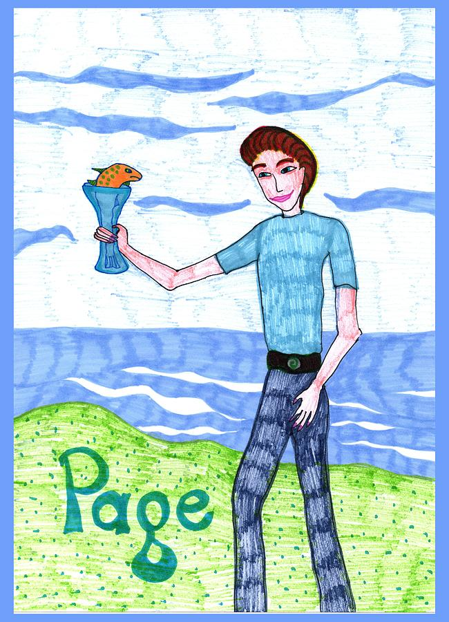 Tarot Drawing - Tarot Of The Younger Self Page Of Cups by Sushila Burgess