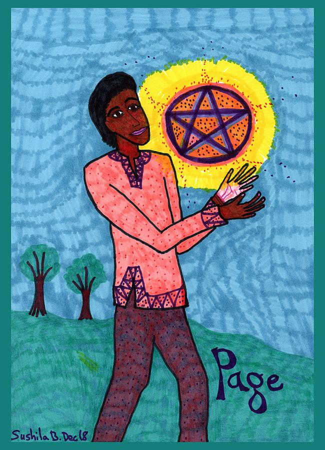 Tarot Drawing - Tarot Of The Younger Self Page Of Pentacles by Sushila Burgess