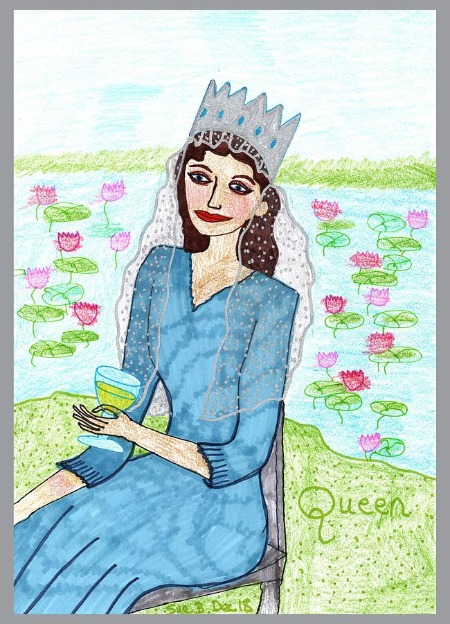 Tarot Drawing - Tarot of the Younger Self Queen of Cups by Sushila Burgess