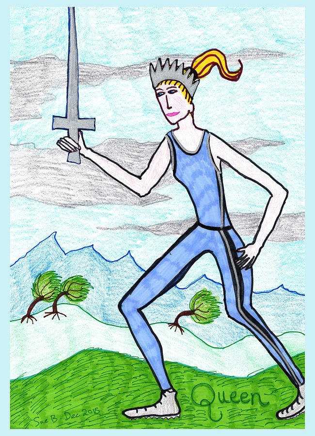 Tarot Drawing - Tarot of the Younger Self Queen of Swords by Sushila Burgess