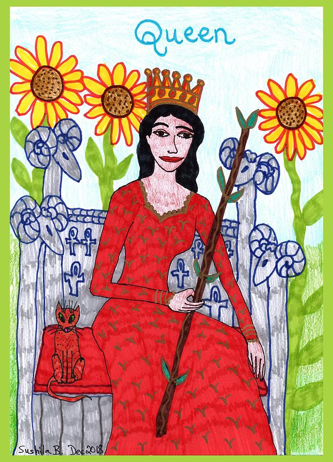 Tarot Drawing - Tarot of the Younger Self Queen of Wands by Sushila Burgess