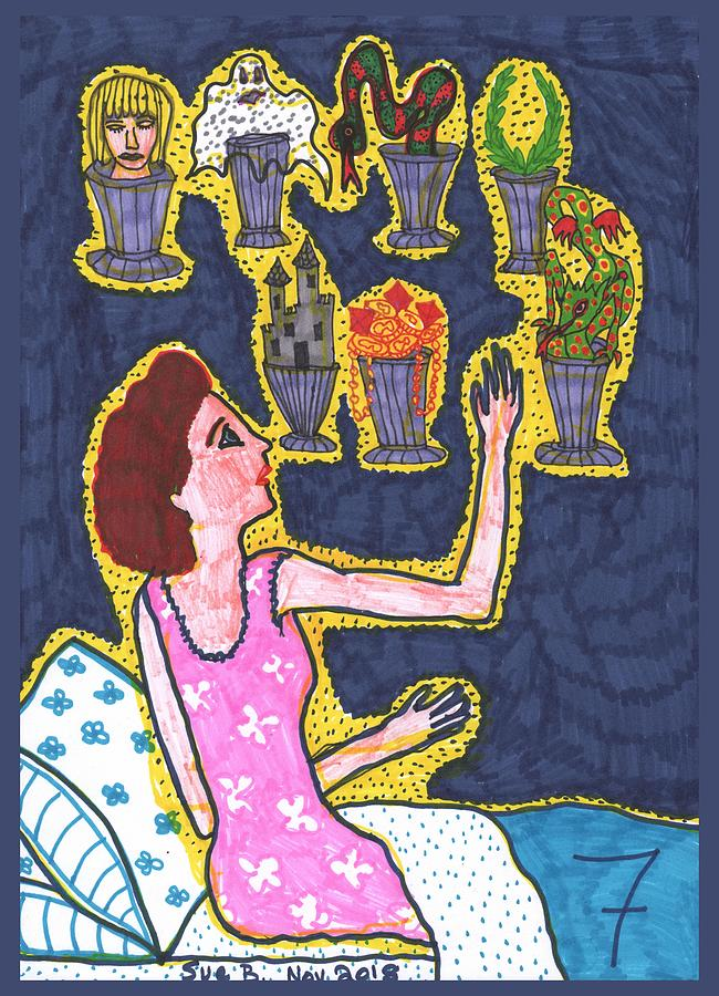 Tarot Drawing - Tarot of the Younger Self Seven of Cups by Sushila Burgess