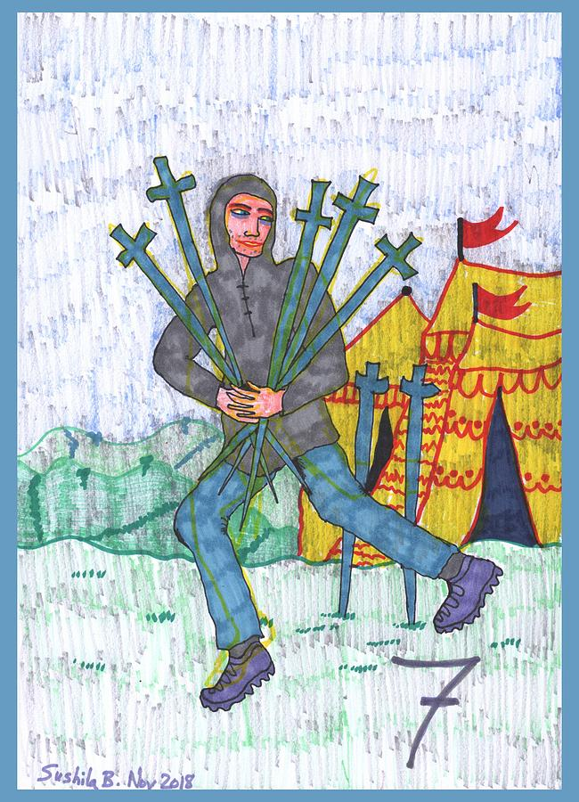 Tarot Drawing - Tarot of the Younger Self Seven of Swords by Sushila Burgess