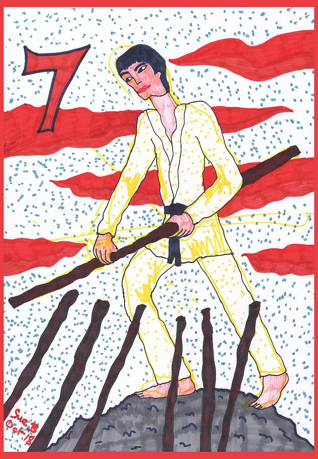 Tarot Drawing - Tarot of the Younger Self Seven of Wands by Sushila Burgess