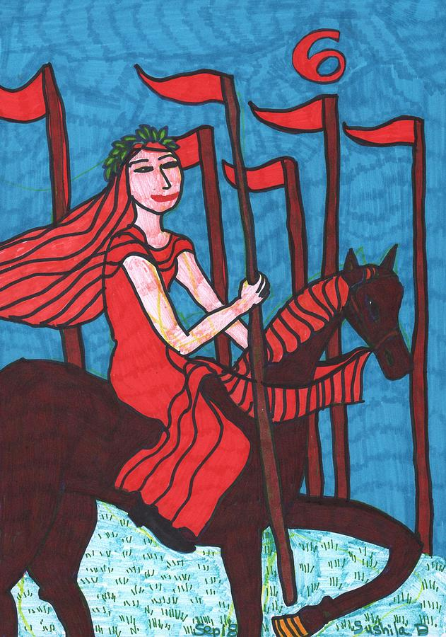 Tarot Drawing - Tarot of the Younger Self Six of Wands by Sushila Burgess