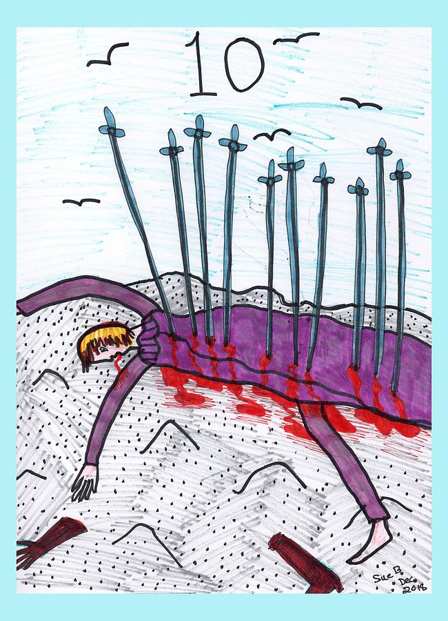 Tarot Drawing - Tarot of the Younger Self Ten of Swords by Sushila Burgess