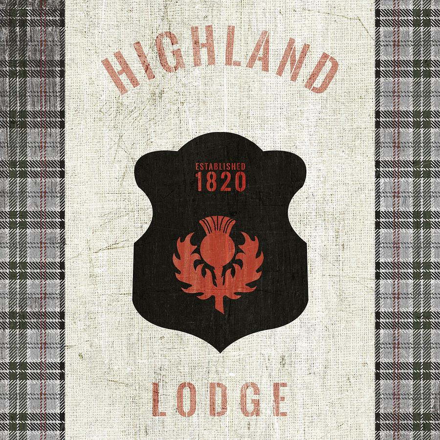 Black Painting - Tartan Lodge Shield I by Wild Apple Portfolio