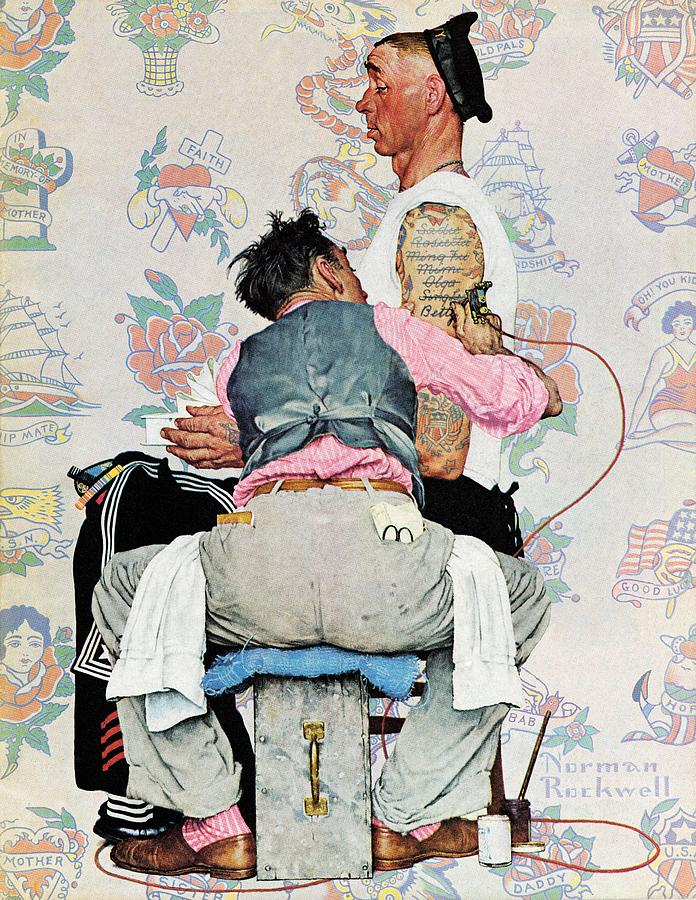 Arms Drawing - Tattoo Artist by Norman Rockwell