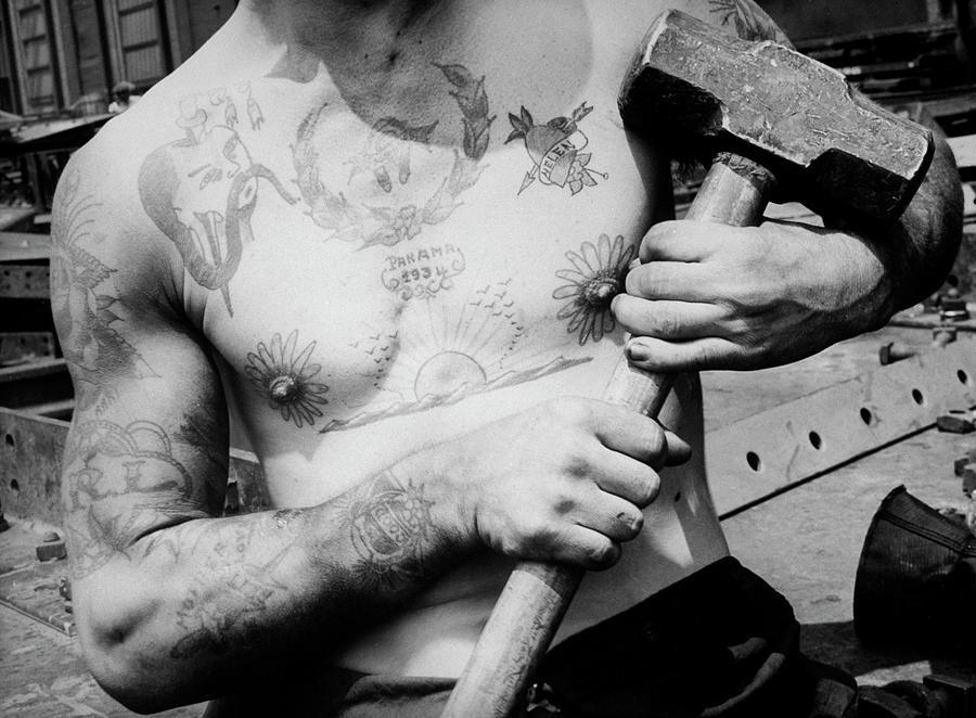 Tattooed Shipbuilder Photograph by Margaret Bourke-white