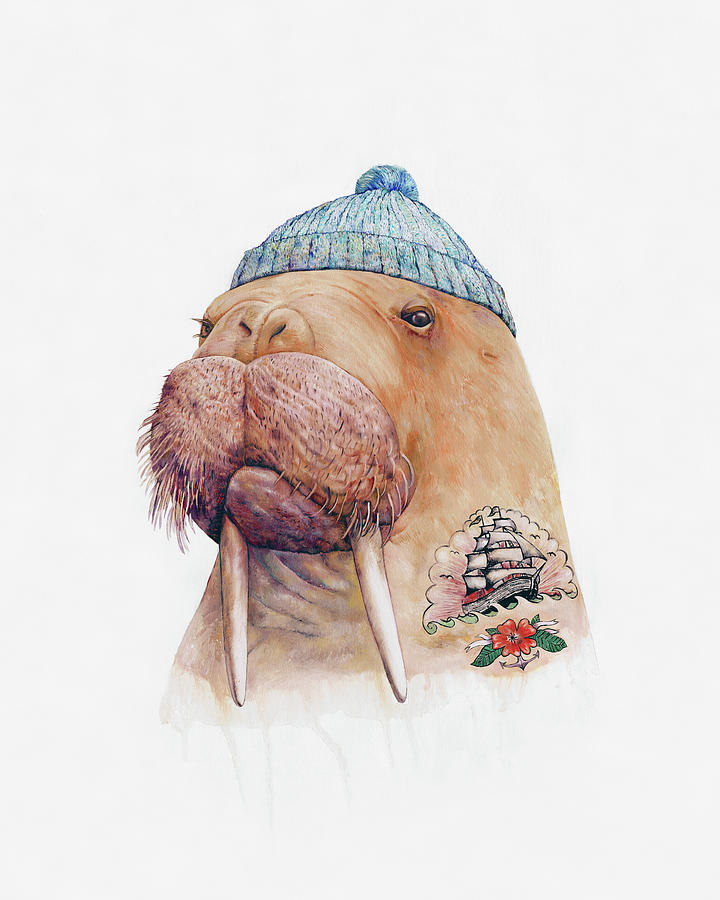 Tattoo Painting - Tattooed Walrus by Animal Crew