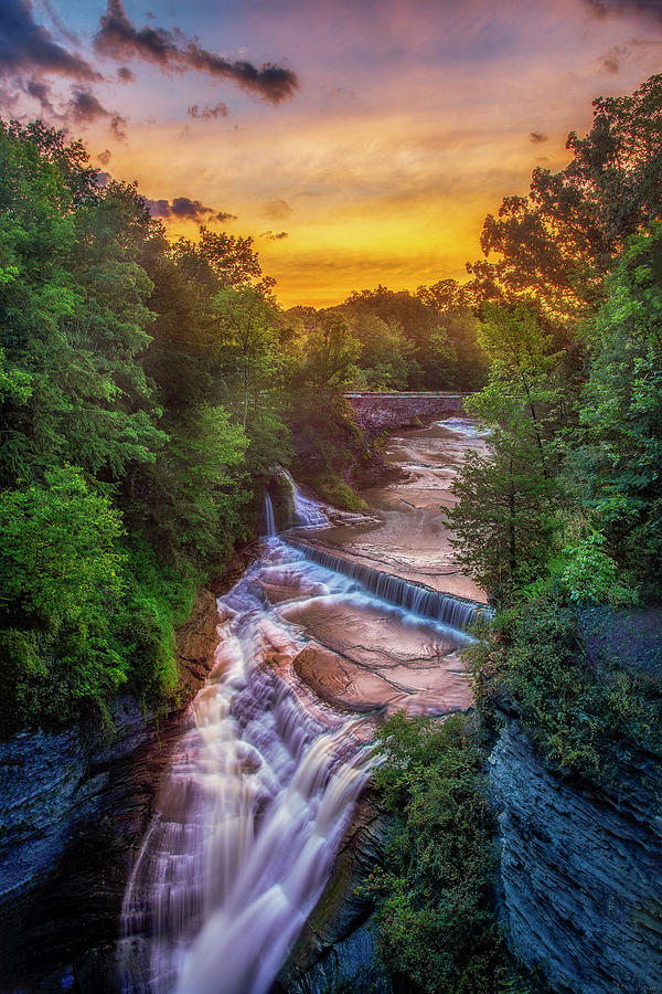 Taughannock Upper Falls At Sunset by Mark Papke