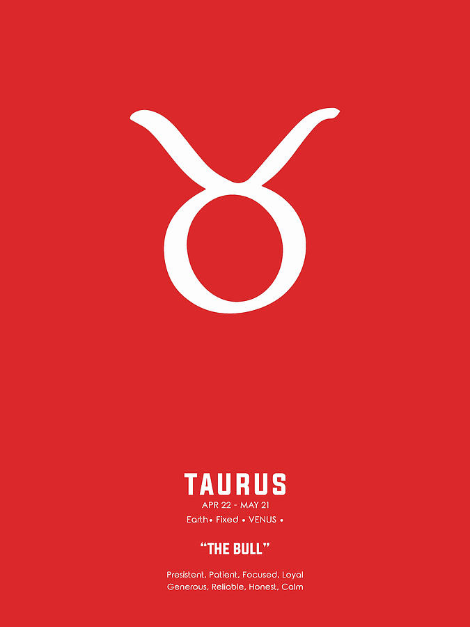 Taurus Print - Zodiac Signs Print - Zodiac Posters - Taurus Poster - Red And White - Taurus Traits Mixed Media