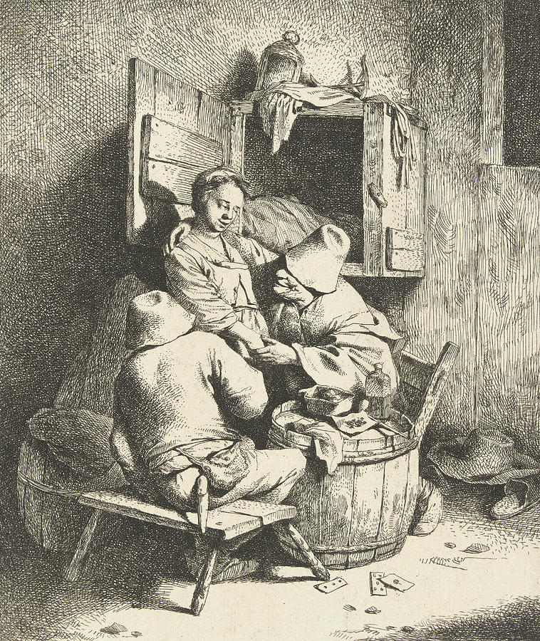Dutch Painters Relief - Tavern Man Caressing A Woman by Cornelis Pietersz Bega