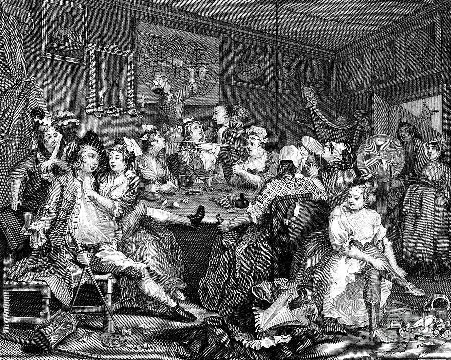 Tavern Scene From The Rakes Progress Drawing by Print Collector