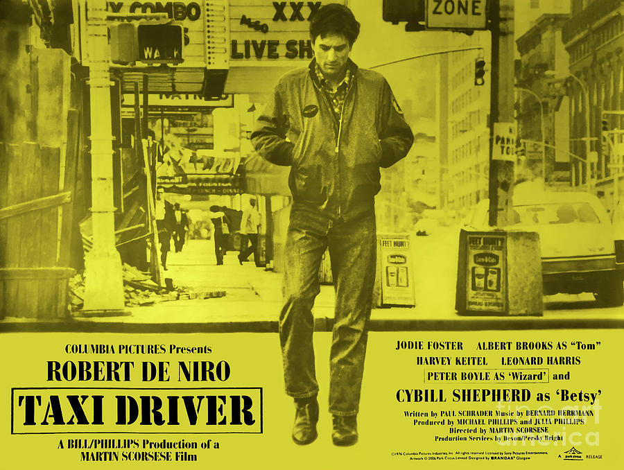 Taxi Driver 1976 - Yellow Poster by Kultur Arts Studios