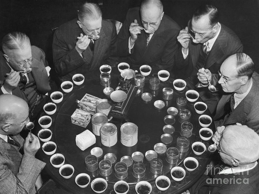 Tea Experts Seated And Testing Teas Photograph by Bettmann