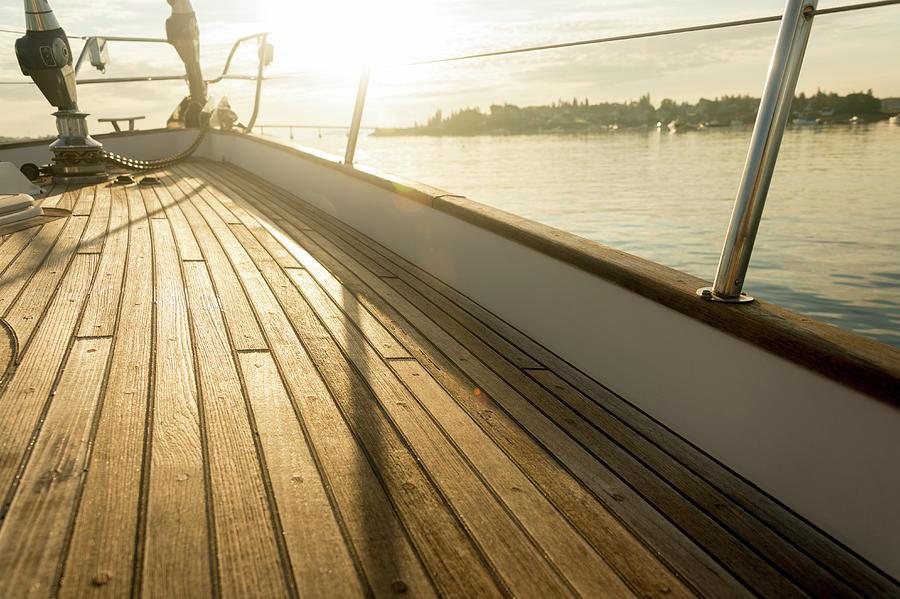 Teak Deck Of 62 Ft Sailboat Photograph by Gary S Chapman