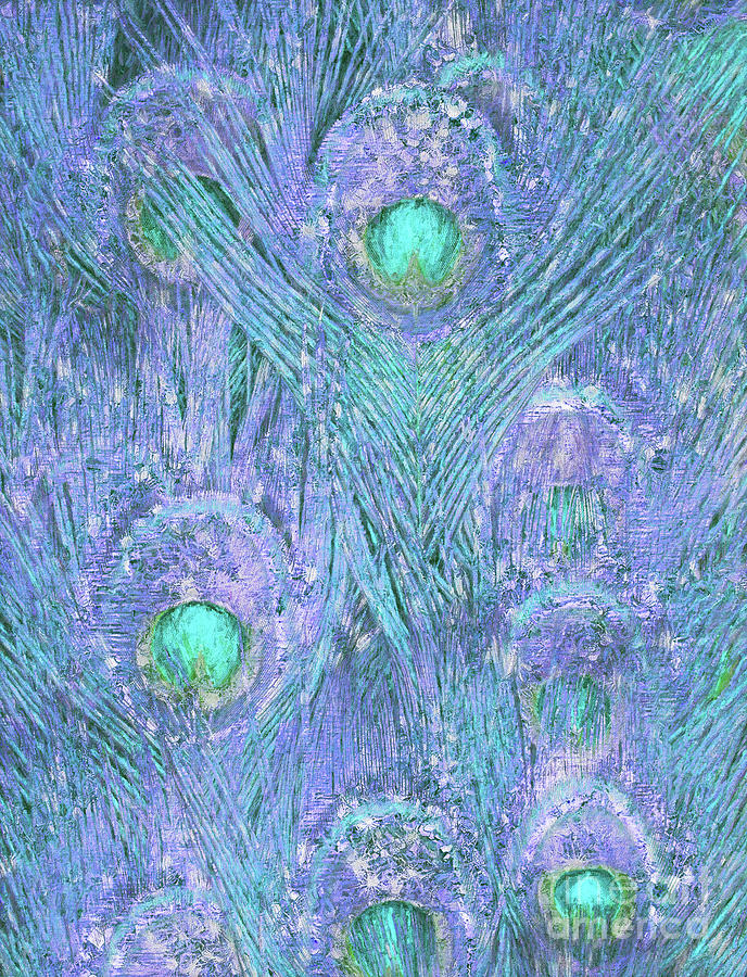 Teal and Purple Peacock Feather Pattern by Tina Lavoie