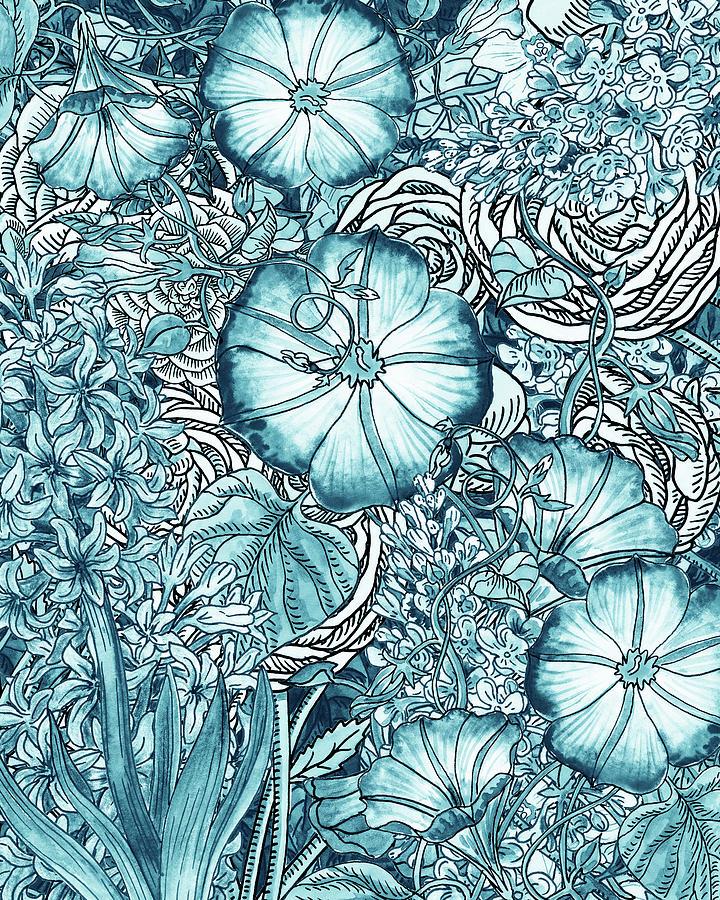 Teal Blue Watercolor Botanical Flowers Garden Pattern Flowerbed VI by Irina Sztukowski