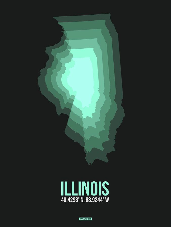 Illinois Digital Art - Teal Map of Illinois by Naxart Studio