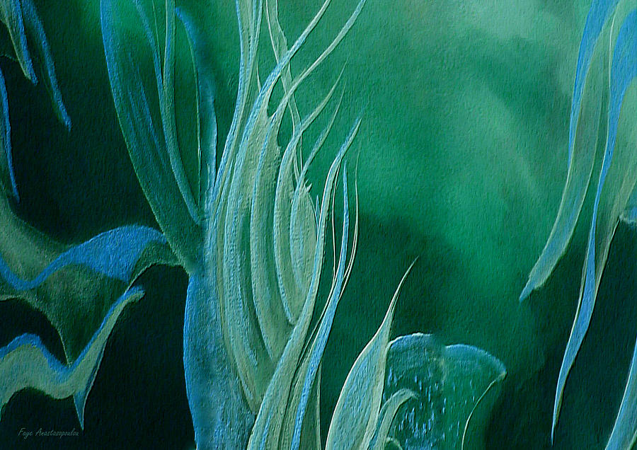 Abstract Painting - Teal Melody by Faye Anastasopoulou