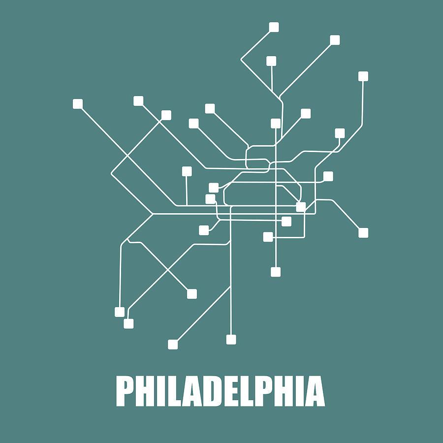 Philadelphia Digital Art - Teal Philadelphia Subway Map by Naxart Studio