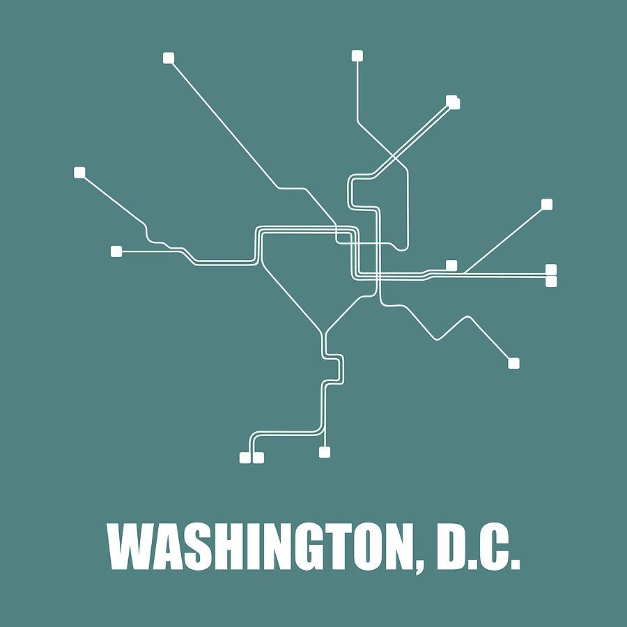 Washington Digital Art - Teal Washington, D.c. Subway Map by Naxart Studio