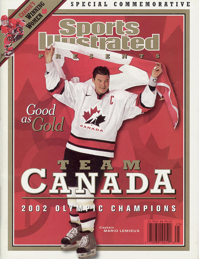 Team Canada Mario Lemieux, 2002 Winter Olympic Champions Sports Illustrated Cover Photograph by Sports Illustrated