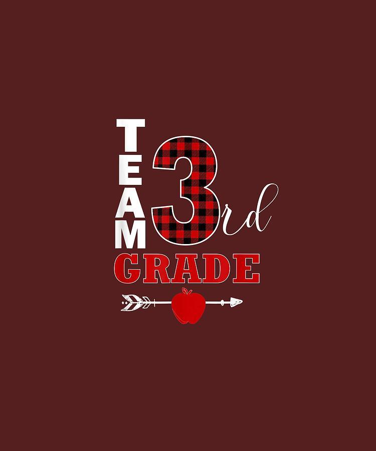 Team Digital Art - Team Third Grade Lumberjack Plaid Teacher Student School Tshirt by Unique Tees