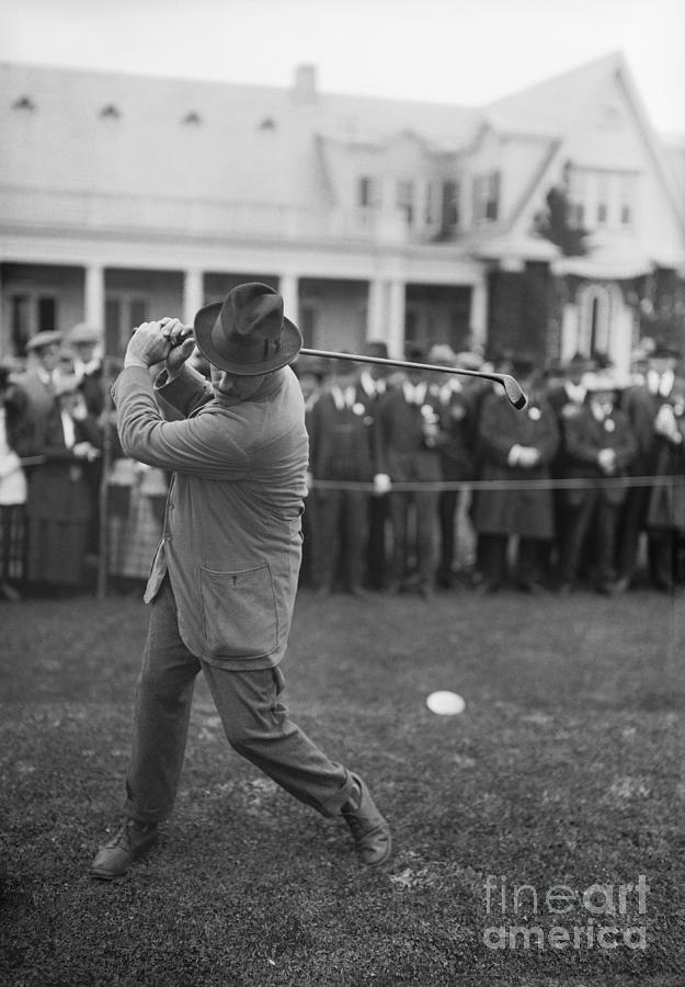 Ted Ray Taking A Swing Photograph by Bettmann