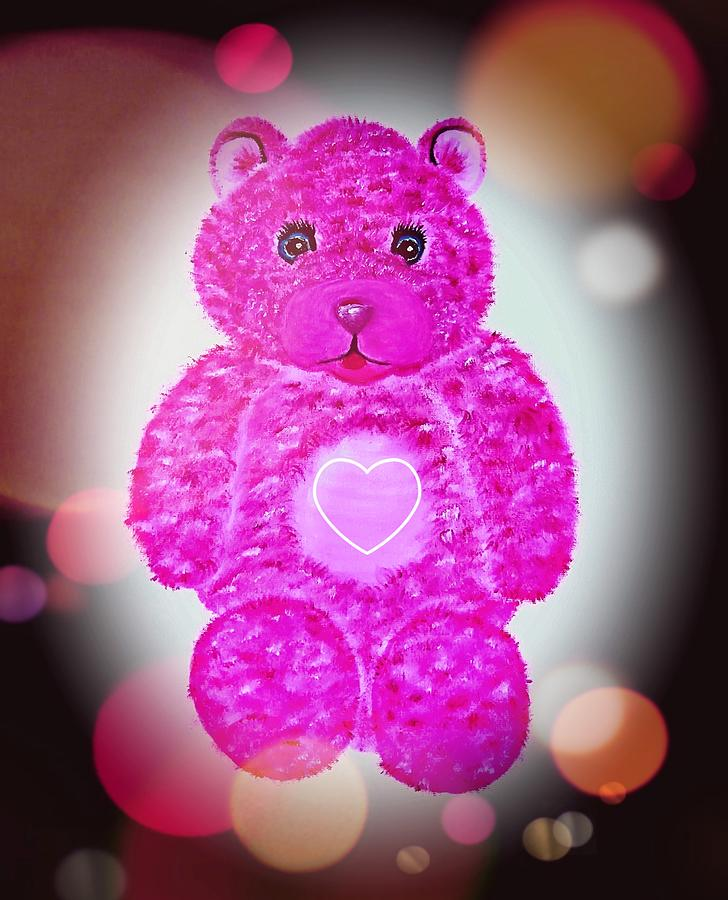 Pink Painting - Teddy Love In Pink Lilac Stardust Glow  by Angela Whitehouse